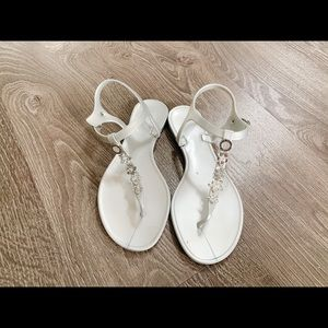 Silver jelly Guess sandals with jewel detailing